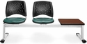 Stars 3-Beam Seating with 2 Teal Vinyl Seats and 1 Table - Cherry Finish [323T-VAM-602-CH-MFO]