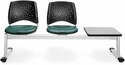 Stars 3-Beam Seating with 2 Teal Vinyl Seats and 1 Table - Gray Nebula Finish [323T-VAM-602-GY-MFO]