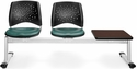 Stars 3-Beam Seating with 2 Teal Vinyl Seats and 1 Table - Mahogany Finish [323T-VAM-602-MH-MFO]
