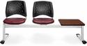 Stars 3-Beam Seating with 2 Wine Vinyl Seats and 1 Table - Cherry Finish [323T-VAM-603-CH-MFO]