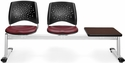Stars 3-Beam Seating with 2 Wine Vinyl Seats and 1 Table - Mahogany Finish [323T-VAM-603-MH-MFO]