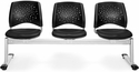Stars 3-Beam Seating with 3 Vinyl Seats - Black [323-VAM-606-MFO]