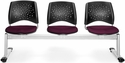 Stars 3-Beam Seating with 3 Fabric Seats - Burgundy [323-2211-MFO]