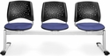 Stars 3-Beam Seating with 3 Fabric Seats - Colonial Blue [323-2204-MFO]