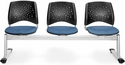 Stars 3-Beam Seating with 3 Fabric Seats - Cornflower Blue [323-2206-MFO]