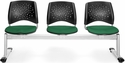 Stars 3-Beam Seating with 3 Fabric Seats - Forest Green [323-2221-MFO]