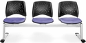 Stars 3-Beam Seating with 3 Fabric Seats - Lavender [323-2202-MFO]