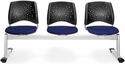 Stars 3-Beam Seating with 3 Fabric Seats - Navy [323-2203-MFO]