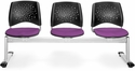 Stars 3-Beam Seating with 3 Fabric Seats - Plum [323-2214-MFO]
