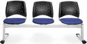 Stars 3-Beam Seating with 3 Fabric Seats - Royal Blue [323-2210-MFO]