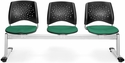 Stars 3-Beam Seating with 3 Fabric Seats - Shamrock Green [323-2201-MFO]