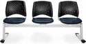 Stars 3-Beam Seating with 3 Vinyl Seats - Navy [323-VAM-605-MFO]