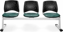 Stars 3-Beam Seating with 3 Vinyl Seats - Teal [323-VAM-602-MFO]