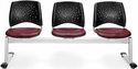 Stars 3-Beam Seating with 3 Vinyl Seats - Wine [323-VAM-603-MFO]