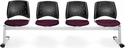 Stars 4-Beam Seating with 4 Fabric Seats - Burgundy [324-2211-MFO]