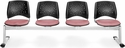 Stars 4-Beam Seating with 4 Fabric Seats - Coral Pink [324-2208-MFO]