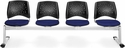 Stars 4-Beam Seating with 4 Fabric Seats - Navy [324-2203-MFO]