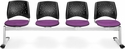 Stars 4-Beam Seating with 4 Fabric Seats - Plum [324-2214-MFO]