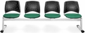 Stars 4-Beam Seating with 4 Fabric Seats - Shamrock Green [324-2201-MFO]