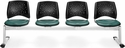 Stars 4-Beam Seating with 4 Vinyl Seats - Teal [324-VAM-602-MFO]