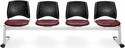 Stars 4-Beam Seating with 4 Vinyl Seats - Wine [324-VAM-603-MFO]