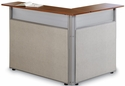 Steel Frame L-Shaped Reception Stand with Laminate Top - Beige Vinyl with Cherry Finish [PG297-GF-BVC-MFO]