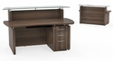 Sterling 72'' W Reception Station with One Box Box File Pedestal - Textured Brown Sugar [STG33TBS-FS-MAY]