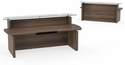 Sterling 96'' W Reception Station with Glass Transaction Counter - Textured Brown Sugar [STRC96TBS-FS-MAY]