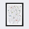 Summer Birds Background I by Courtney Prahl Artwork on Fine Art Paper with Black Matte Hardwood Frame - 16''W x 24''H x 1''D [WAC3834-1PFA-24X16-FM01-ICAN]