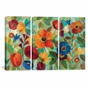 Summer Floral V by Silvia Vassileva Triptych Gallery Wrapped Canvas Artwork - 60''W x 40''H x 0.75''D [WAC1388-3PC3-60X40-ICAN]