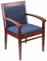 Tea Indoor Office Chair with Blue Pattern Fabric Seat and Back - Mahogany Wood Finish [TEA-MAHOGANY-BLUE-PATTERN-FABRIC-FLS]