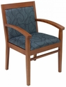 Tea Indoor Office Chair with Gray Pattern Fabric Seat and Back - Cherry Wood Finish [TEA-CHERRY-GRAY-PATTERN-FABRIC-FLS]