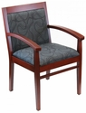 Tea Indoor Office Chair with Gray Pattern Fabric Seat and Back - Mahogany Wood Finish [TEA-MAHOGANY-GRAY-PATTERN-FABRIC-FLS]