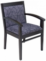 Tea Indoor Office Chair with Lavender Pattern Fabric Seat and Back - Walnut Wood Finish [TEA-WALNUT-LAVENDER-PATTERN-FABRIC-FLS]
