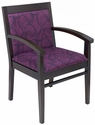 Tea Indoor Office Chair with Purple Pattern Fabric Seat and Back - Walnut Wood Finish [TEA-WALNUT-PURPLE-PATTERN-FABRIC-FLS]