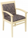 Tea Indoor Office Chair with Tobacco Pattern Fabric Seat and Back - Natural Wood Finish [TEA-NATURAL-TOBACCO-PATTERN-FABRIC-FLS]