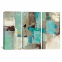 Teal and Aqua Reflections #2 by Silvia Vassileva Triptych Gallery Wrapped Canvas Artwork - 60''W x 40''H x 1.5''D [WAC1467-3PC6-60X40-ICAN]