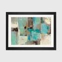 Teal and Aqua Reflections No. 2 by Silvia Vassileva Artwork on Fine Art Paper with Black Matte Hardwood Frame - 24''W x 16''H x 1''D [WAC1467-1PFA-24X16-FM01-ICAN]