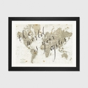 The World Is Your Oyster by Sara Zieve Miller Artwork on Fine Art Paper with Black Matte Hardwood Frame - 32''W x 24''H x 1''D [WAC3127-1PFA-32X24-FM01-ICAN]