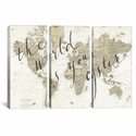 The World Is Your Oyster by Sara Zieve Miller Triptych Gallery Wrapped Canvas Artwork - 60''W x 40''H x 1.5''D [WAC3127-3PC6-60X40-ICAN]