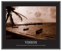 Advantus 30''W x 24''L Framed Sepia Tone Motivational Art Print - Vision with Boats and Pier [78163-FS-VF]