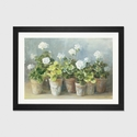 White Geraniums by Danhui Nai Artwork on Fine Art Paper with Black Matte Hardwood Frame - 32''W x 24''H x 1''D [WAC254-1PFA-32X24-FM01-ICAN]