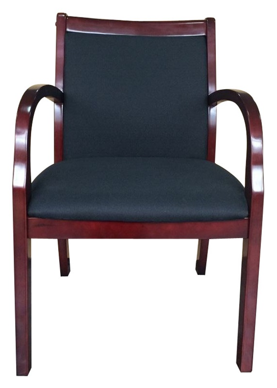 Mahogany Wood And Crepe Upholstered Guest Chair   Black [B9557M BK BOSS]