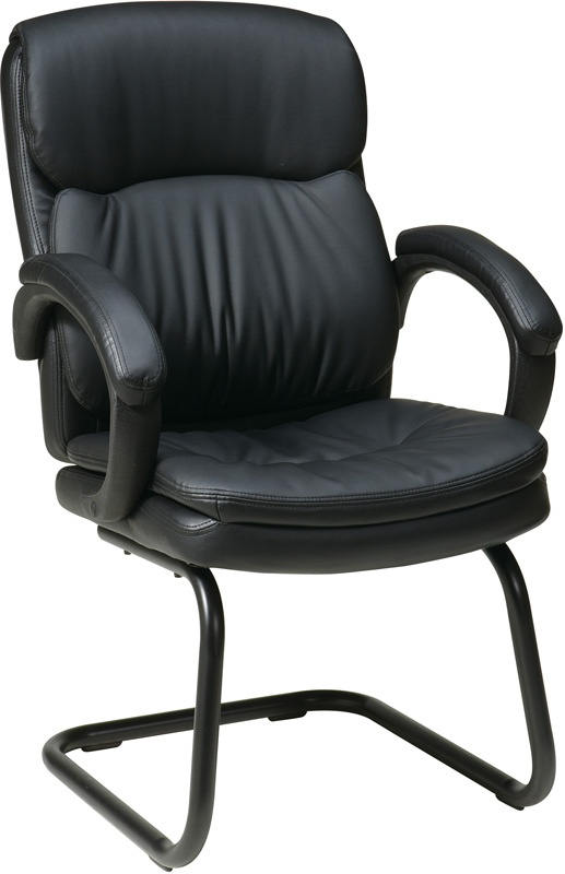 Work Smart Bonded Leather Visitors Chair With Padded Arms And Sled Base Black Ec9235 Ec3 Fs Os