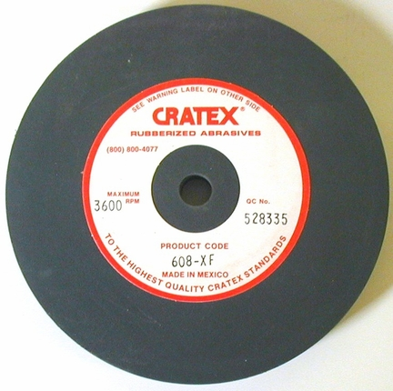 "Cratex rubber wheel  X-FINE  6"" x 1/2"" x 1/2"" arbor"