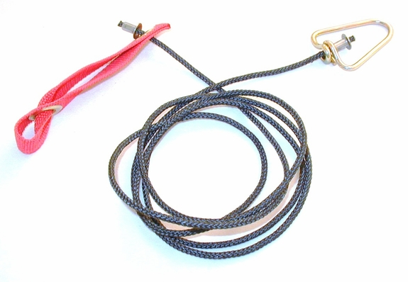 Doubled Nylon hitch on nylon cord with metal swivel
