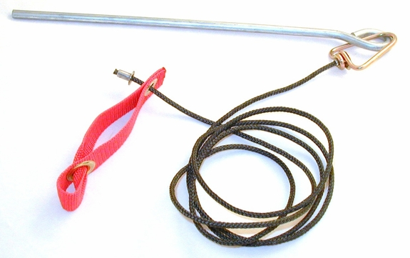 Doubled Nylon hitch on nylon cord with metal swivel & stake