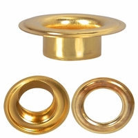 """Grommet & Washer, BRASS, <p style=""""font-family:arial;color:red;font-size:20px;""""> SIZE #1"""