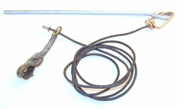 Long neoprene STAG hitch on nylon cord with metal swivel & stake