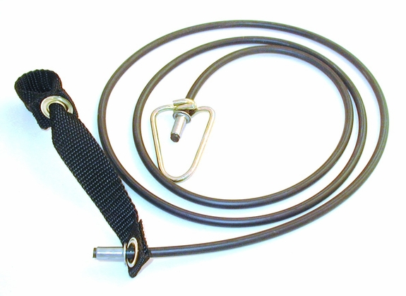 Nylon hitch on rubber cord with metal swivel